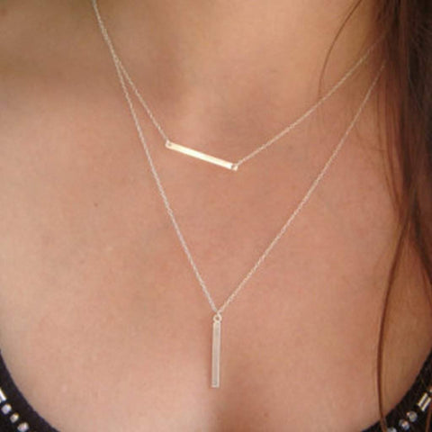Silver Double Bar Layered Necklace