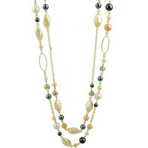 Long Layered Gold Chain and Bead Necklace