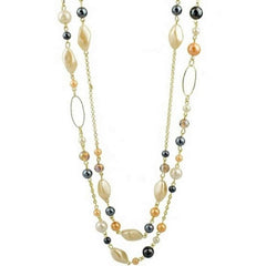 Long Layered Gold Chain and Bead Necklace - JaeBee Jewelry