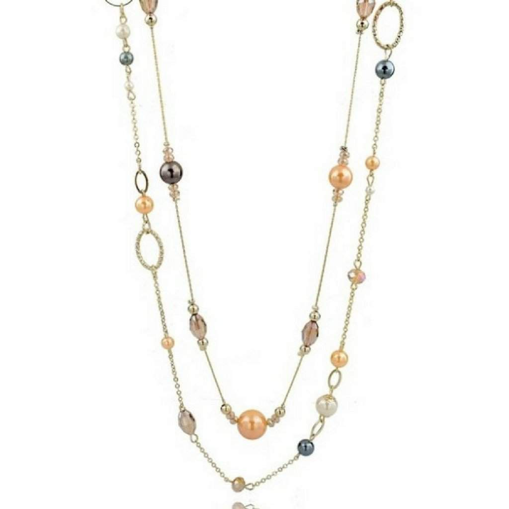 Layered Long Gold Chain and Bead Necklace - JaeBee Jewelry