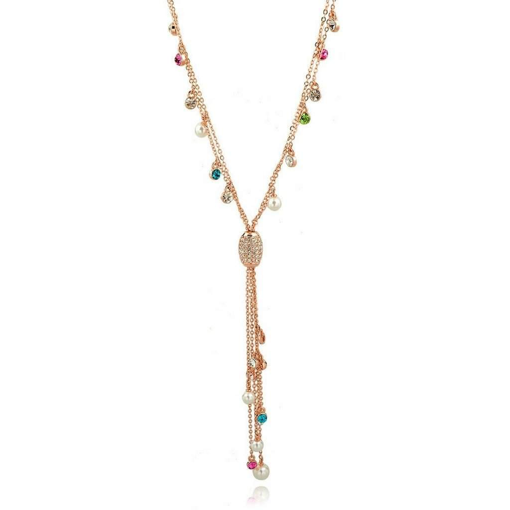 Gold Chain Lariat with Multi Colored Crystals and Tassel