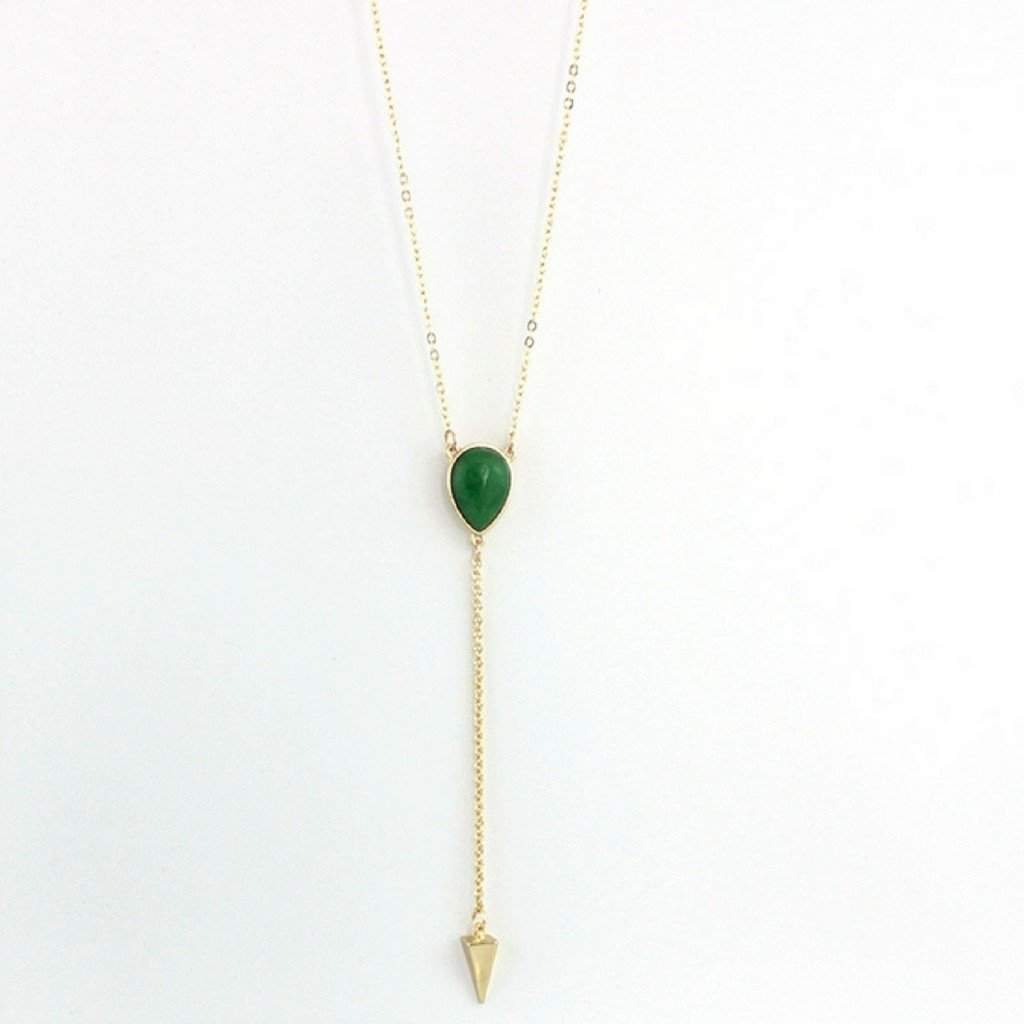 Green Natural Stone Gold Lariat Necklace