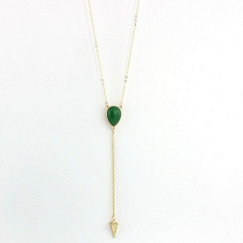 Green Natural Stone and Gold Arrow Head Lariat Necklace - JaeBee Jewelry