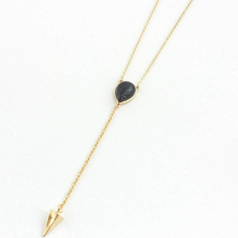 Purple Natural Stone Gold Lariat Necklace