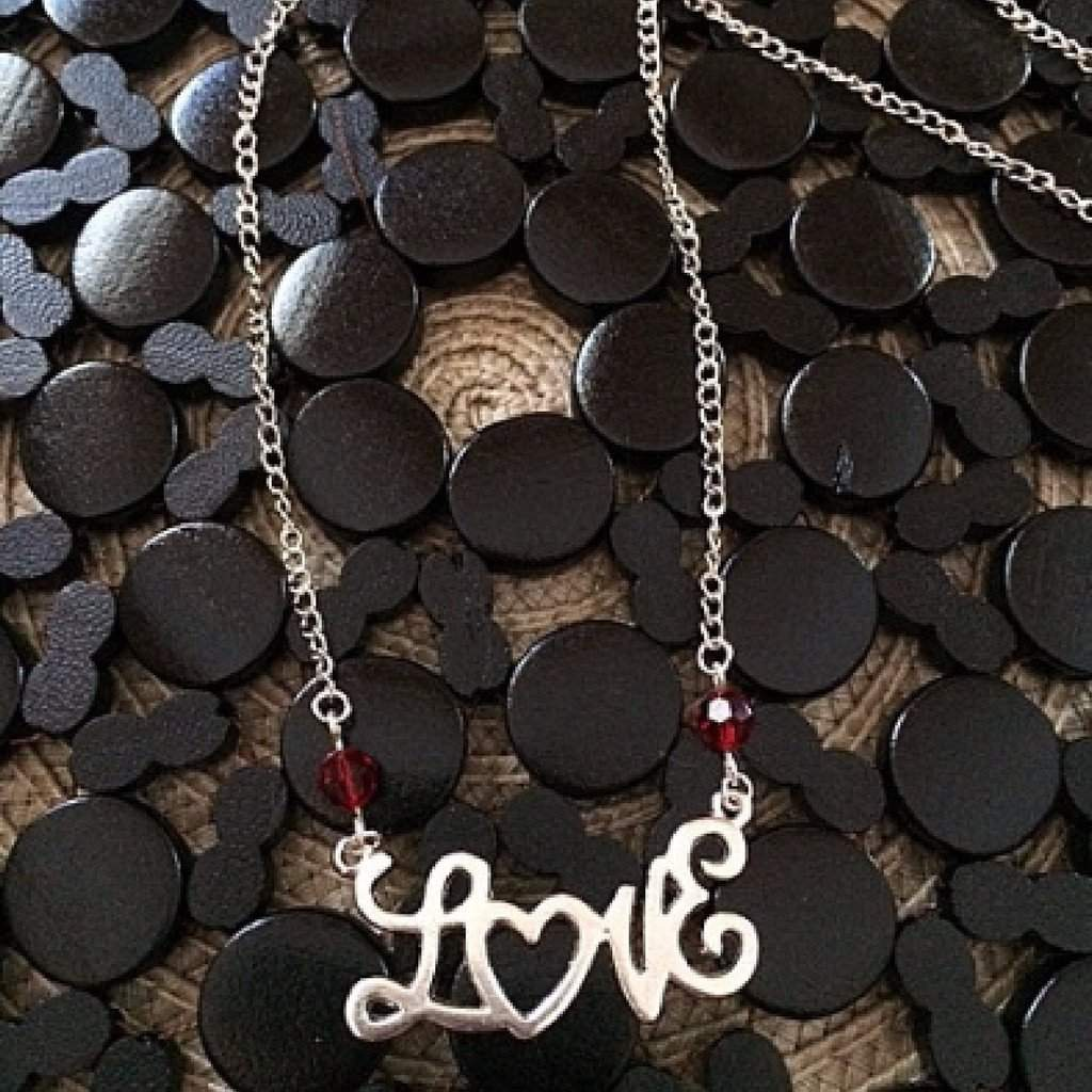 Silver Love Script Pendant Necklace - JaeBee Jewelry
