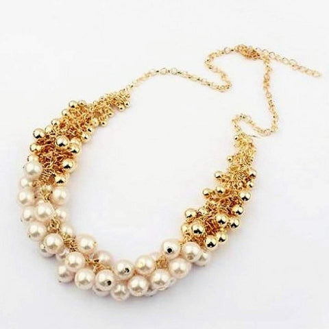 Pearl and Gold Bead Statement Necklace