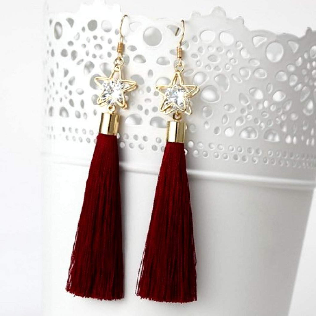 Burgundy Tassel Earrings with Gold Star and Crystal - JaeBee Jewelry