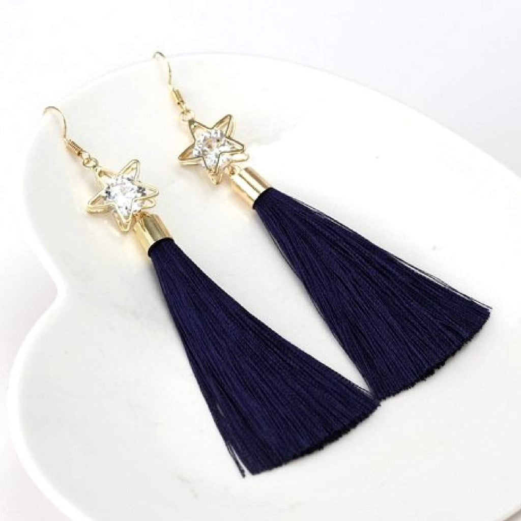 Navy Tassel Earrings with Gold Star and Crystal - JaeBee Jewelry