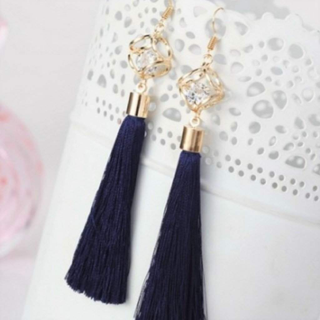 Navy Blue Tassel Earrings with Gold Square and Crystal - JaeBee Jewelry