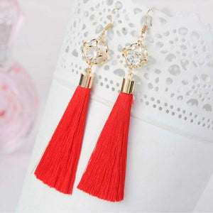 Red Tassel Earrings with Gold Square and Crystal - JaeBee Jewelry