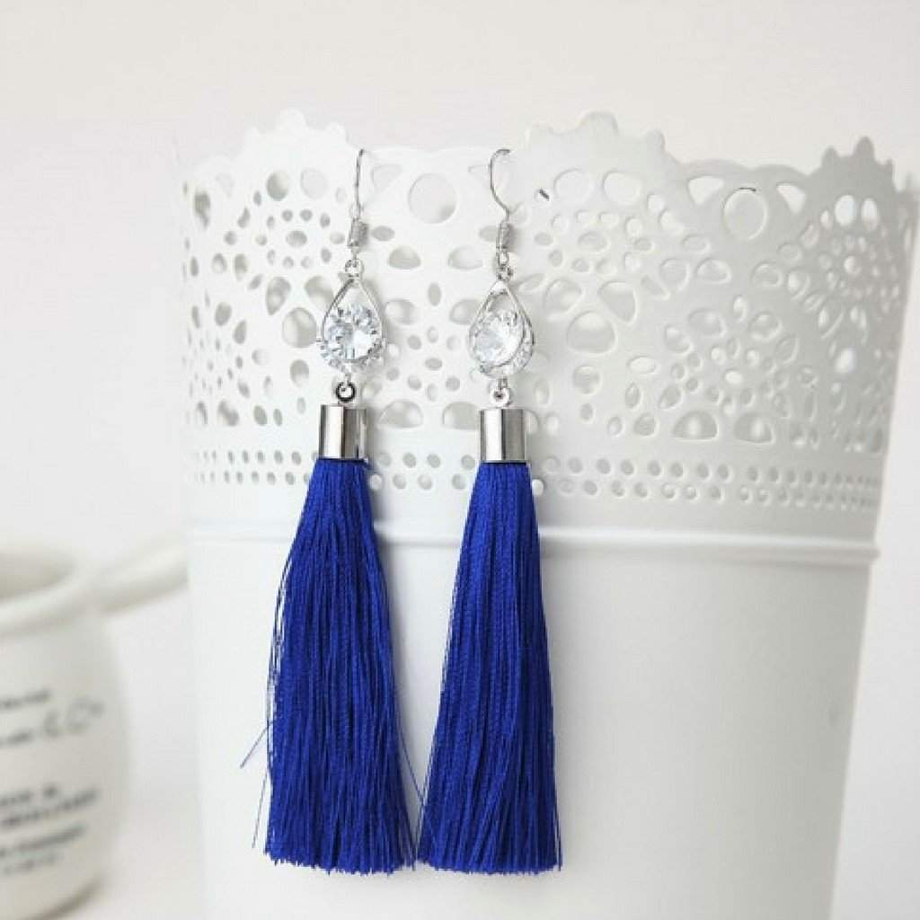Navy Blue Tassel Earrings with Silver Oval and Crystal - JaeBee