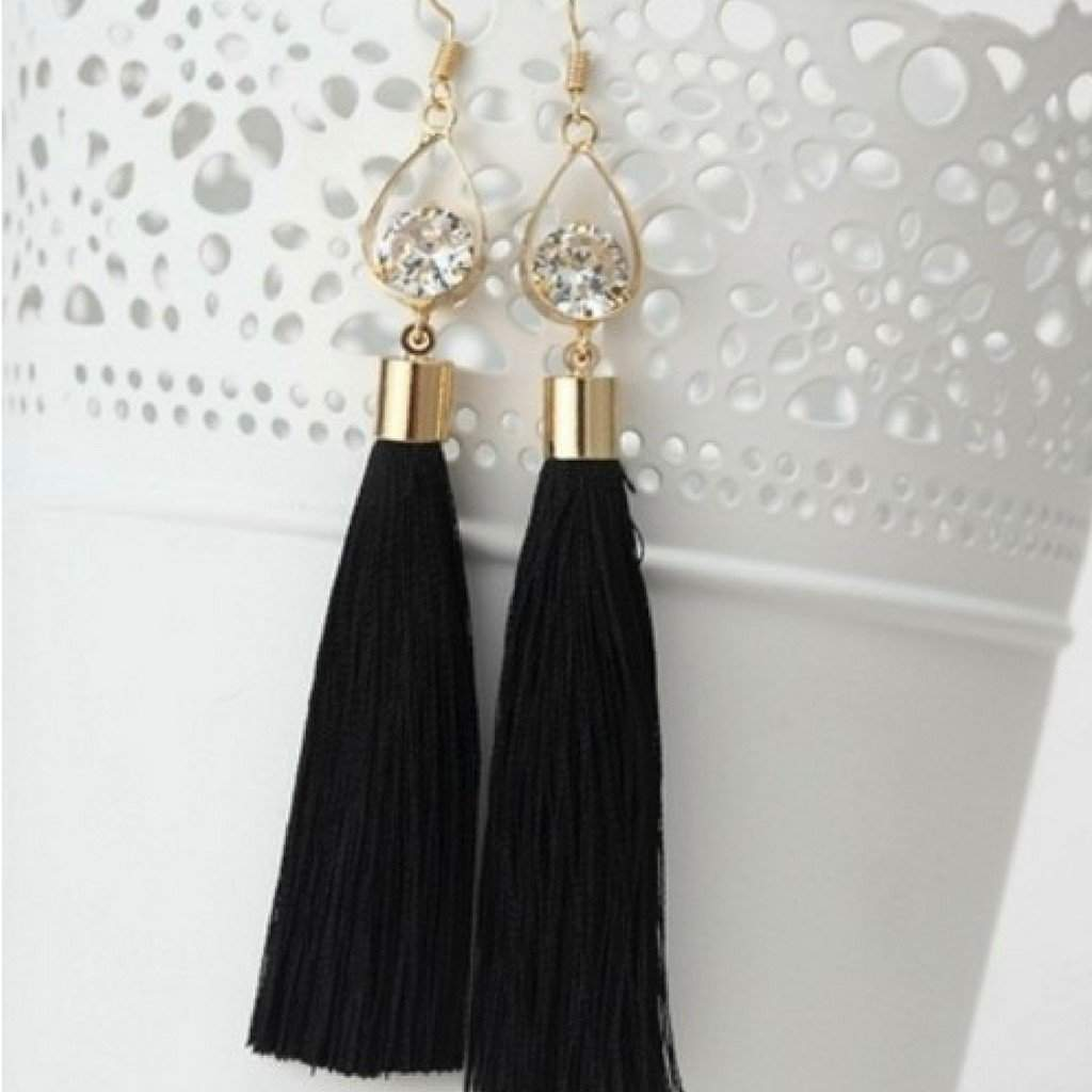 Black Tassel Earrings with Gold Oval and Crystal - JaeBee Jewelry