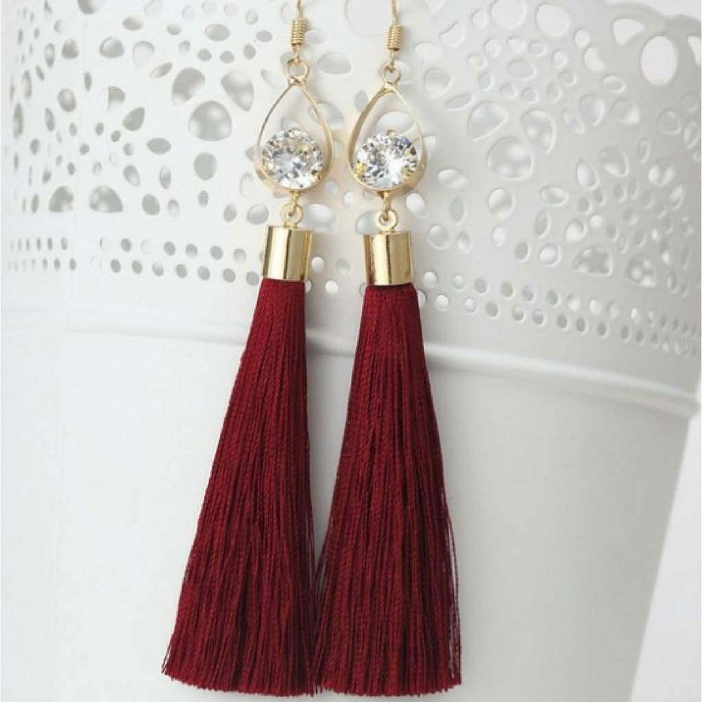 Burgundy Tassel Earrings with Gold Oval and Crystal - JaeBee