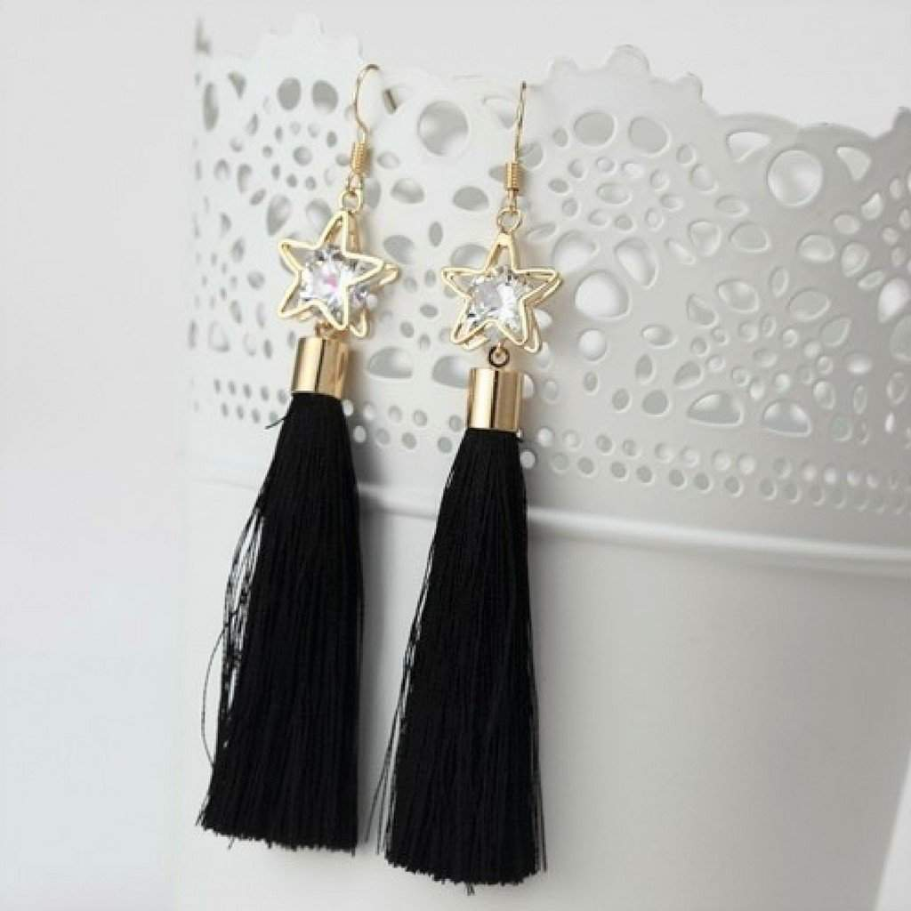 Black Tassel Earrings with Gold Star and Crystal - JaeBee Jewelry