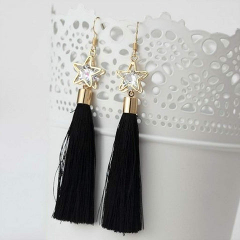 Black Tassel Earrings with Gold Star and Crystal