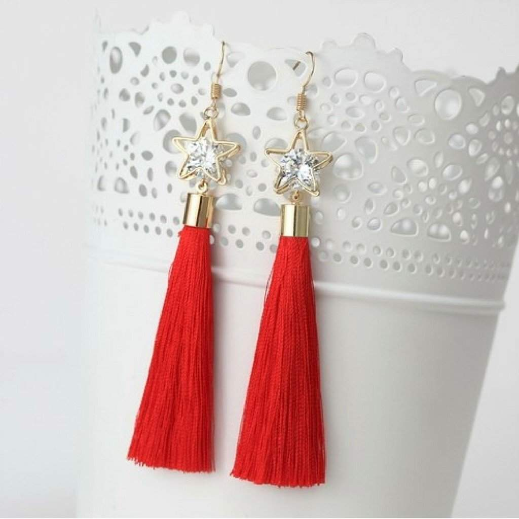 Red Tassel Earrings with Gold Star and Crystal - JaeBee Jewelry