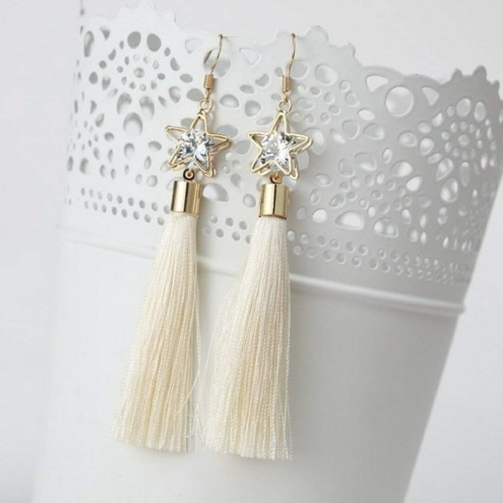 Off White Tassel Earrings with Gold Star and Crystal - JaeBee Jewelry