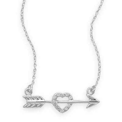 Sterling Silver Arrow and CZ Heart Necklace - JaeBee Jewelry