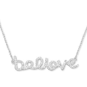 "Sterling Silver ""Believe"" CZ Necklace - JaeBee Jewelry"