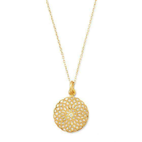 14K Gold Ornate Spiral Design Cut Out Pendant Necklace
