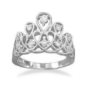 Sterling Silver and CZ Tiara Ring - JaeBee Jewelry
