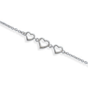 Sterling Silver Heart Anklet - JaeBee Jewelry