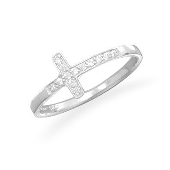 Sterling Silver and CZ Cross Ring - JaeBee Jewelry