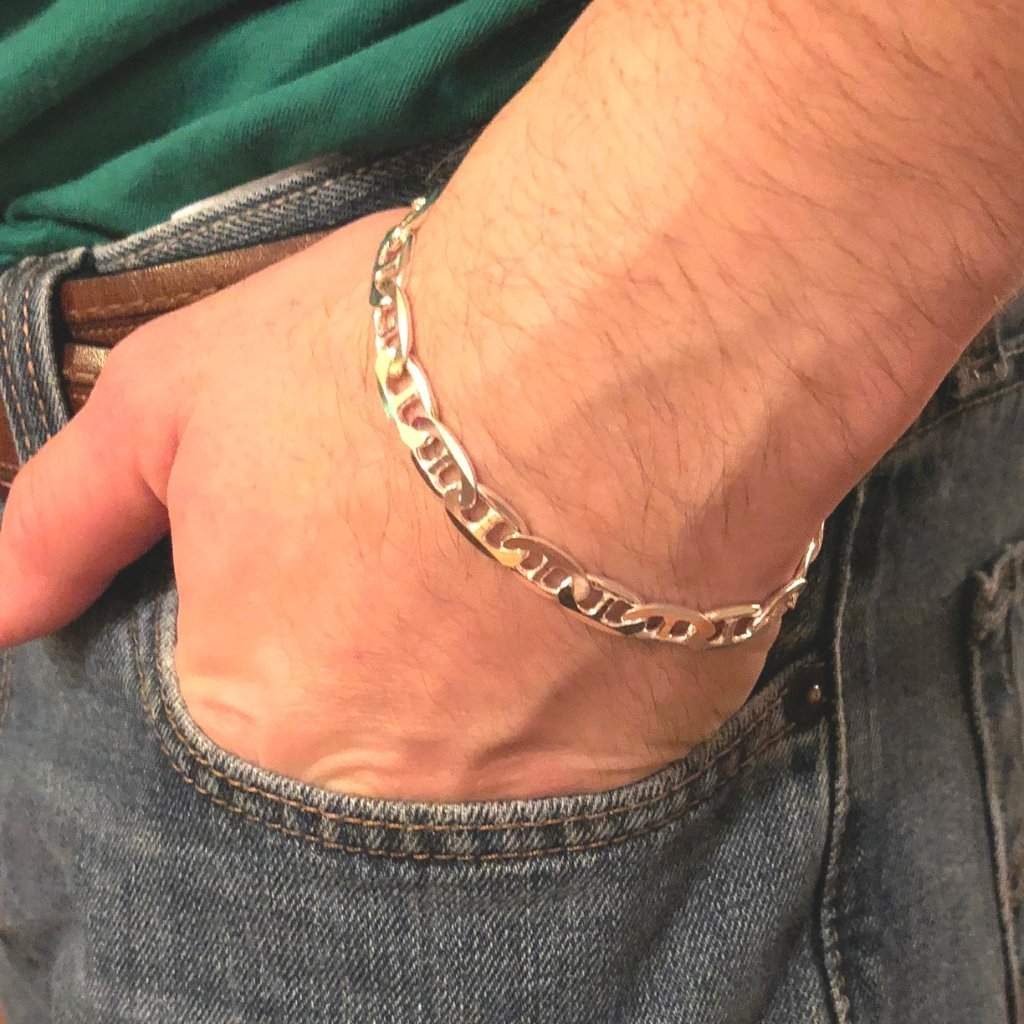 Sterling Silver Mens Flat Marina Chain Bracelet