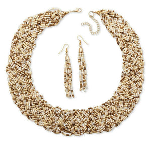Ivory and Bronze Seed Beaded Collar Necklace and Earrings - JaeBee Jewelry