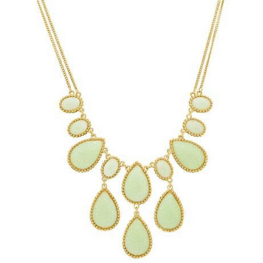 Gold Tone Green Sparkle Drop Fashion Necklace