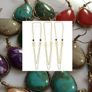 Long Necklace and Natural Stone Earrings - JaeBee Jewelry