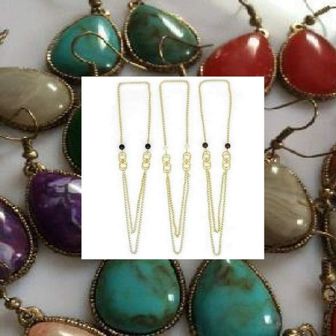 Long Necklace and Natural Stone Earrings