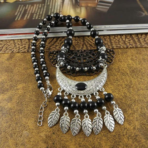 Black Beaded Silver Tribal Statement Necklace - JaeBee Jewelry