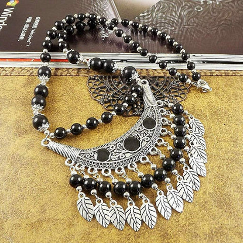 Black Beaded Boho and Silver Leaf Necklace