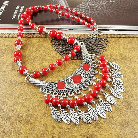 Red Beaded Boho and Silver Leaf Necklace