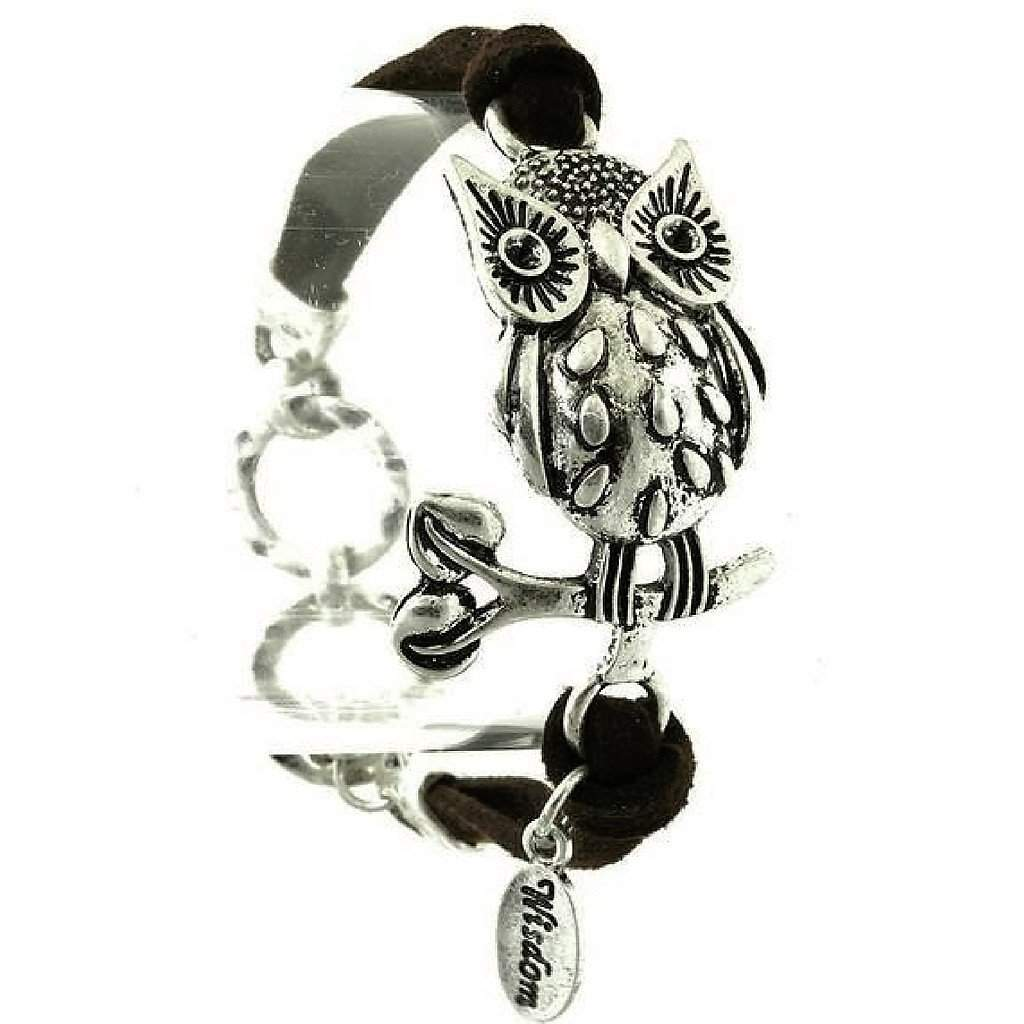 Silver Owl On A Branch Black Suede Bracelet
