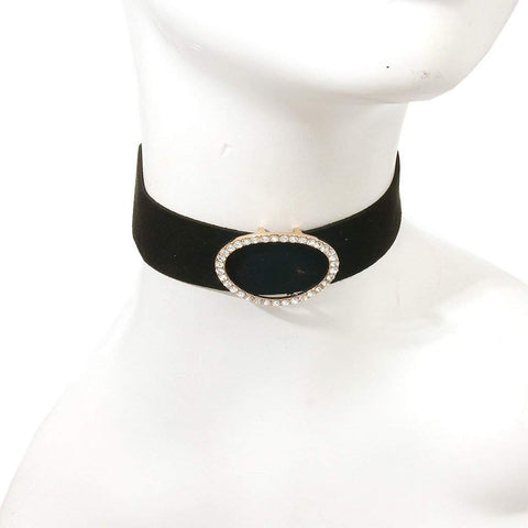 Black Velvet Choker with Gold and Crystal Pendant