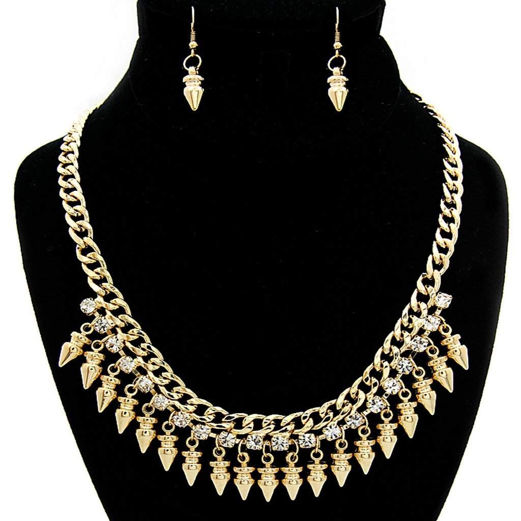 Arrow Gold and Crystal Chain Statement Necklace - JaeBee