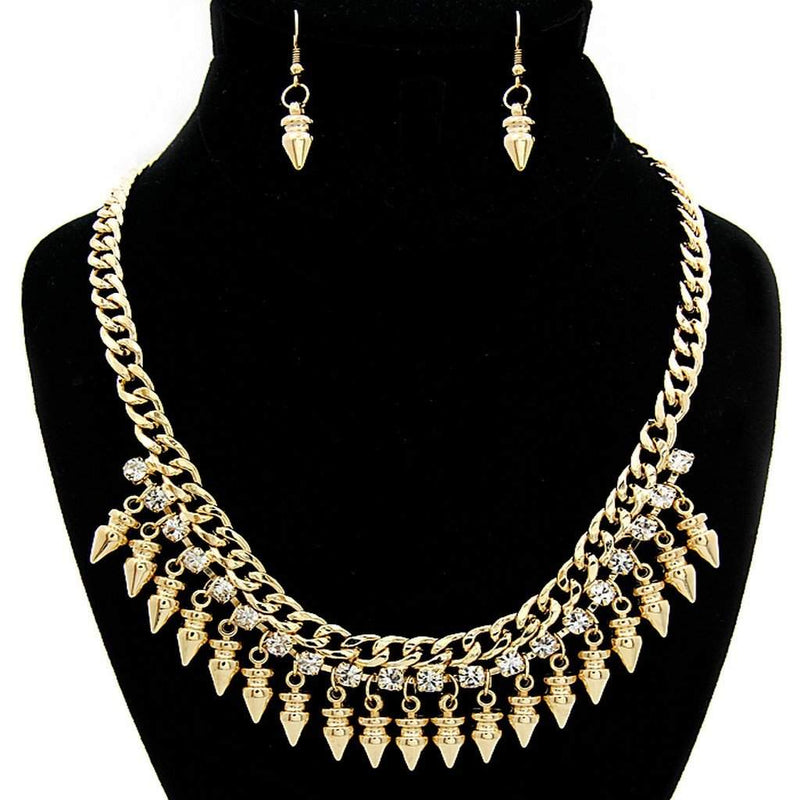 Arrow Gold and Crystal Chain Statement Necklace - JaeBee Jewelry