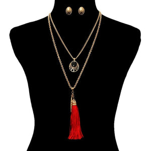 Long Layered Red Tassel and Leaf Necklace - JaeBee Jewelry