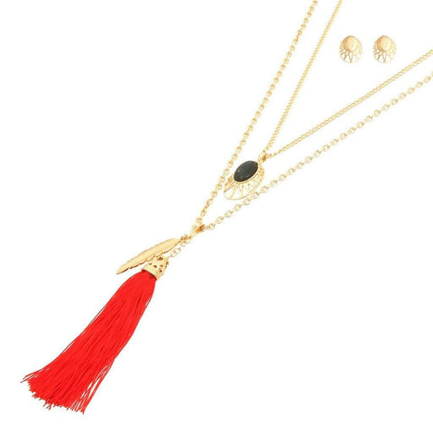 Long Layered Red Tassel and Leaf Necklace