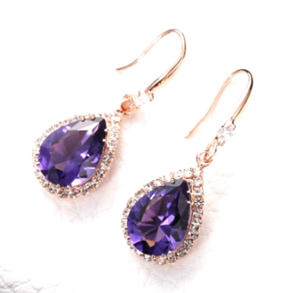 Purple Crystal Teardrop Earrings
