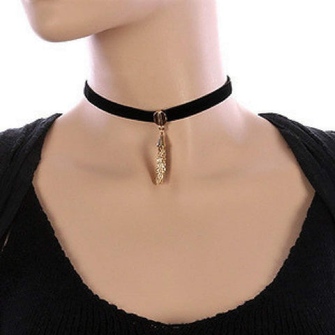 Black Velvet and Gold Chain Tassel Choker