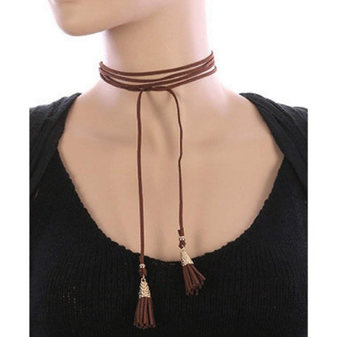 Brown Suede Wrap Tassel Choker