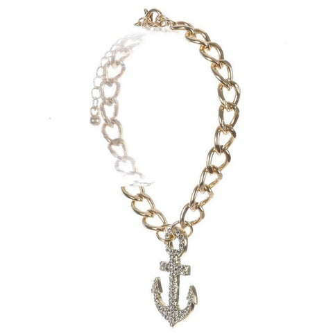 Gold and Crystal Anchor Charm Bracelet