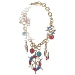 Nautical Red Blue and White Anchor and Ships Wheel Bracelet