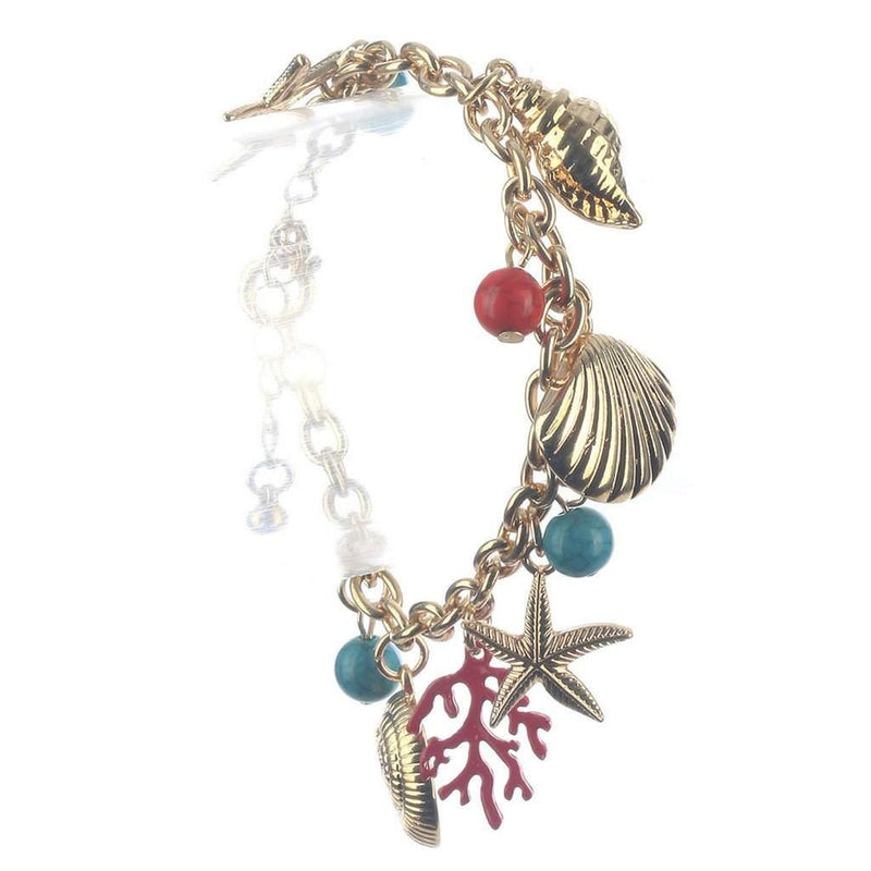 Nautical Sealife Gold Charm Bracelet - JaeBee Jewelry