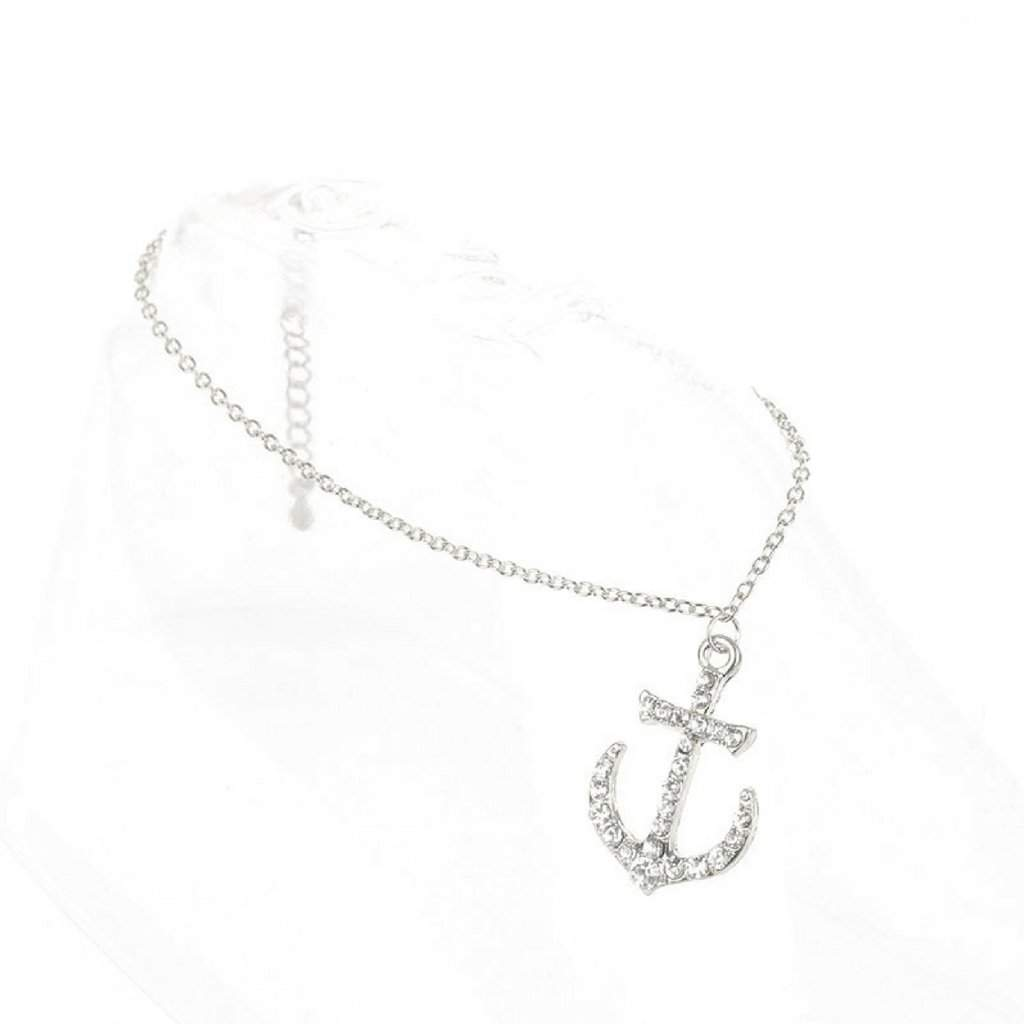 Silver and Crystal Anchor Anklet