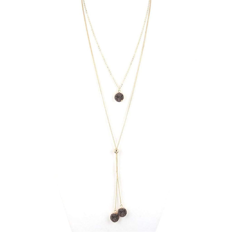 Hematite Druzy Drop Long Layered Lariat Necklace - JaeBee Jewelry