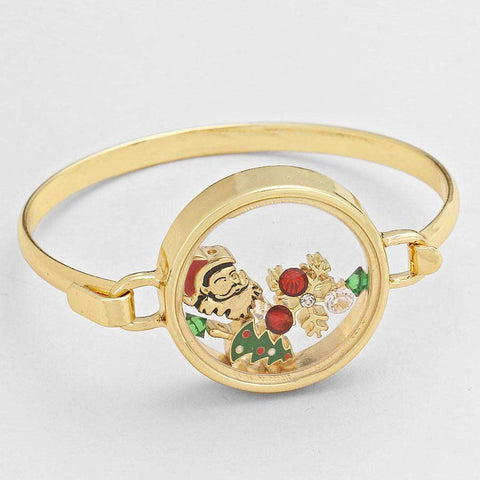 Santa Clause Christmas Floating Charm Gold Bracelet